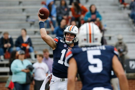Nov 23, 2019; Auburn, AL, USA; Auburn Tigers quarterback Bo Nix (10) throws during warm-ups before the game against the Samford Bulldogs at Jordan-Hare Stadium. Mandatory Credit: John Reed-USA TODAY Sports