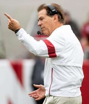Alabama head coach Nick Saban late in the Western Carolina game at Bryant-Denny Stadium in Tuscaloosa, Ala., on Saturday, November 23, 2019.