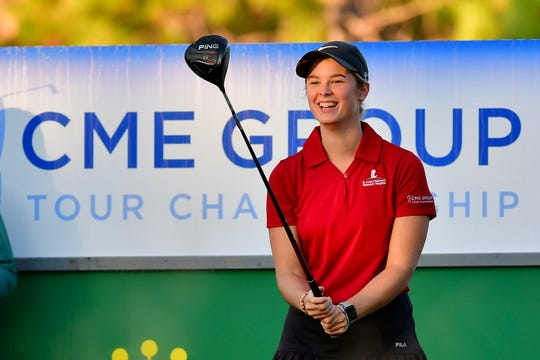 Cancer survivor Mary Browder, 16, hit the ceremonial first tee shot on Thursday, Nov. 21, 2019. She represented St. Jude Children's Research Hospital, a CME Group Tour Championship charity, during the tournament this year.