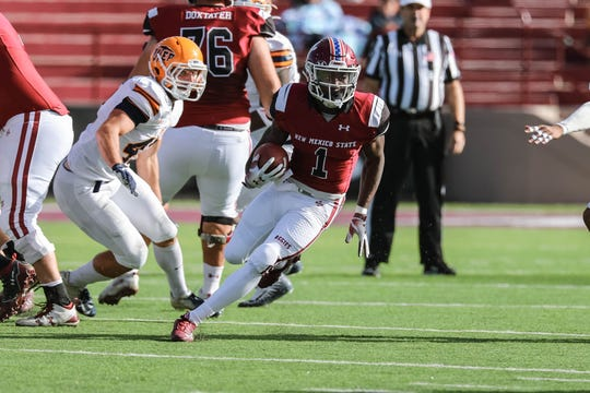 New Mexico State running back Jason Huntley rushed for 191 yards and three TDs in Saturday's victory over UTEP.