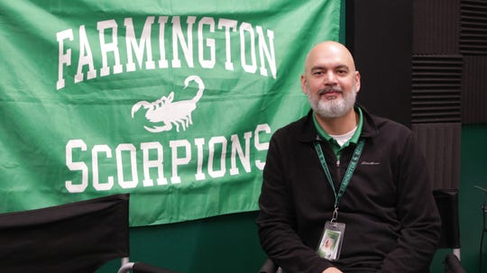 Farmington High School teacher, and founder of FHS Live and Scorp Radio James Curry at Farmington High School on Nov. 21, 2019.