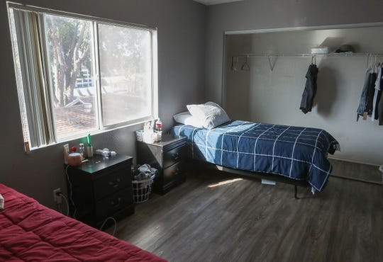 A bedroom in the SafeHouse young adult shelter in Riverside, County, November 22, 2019.