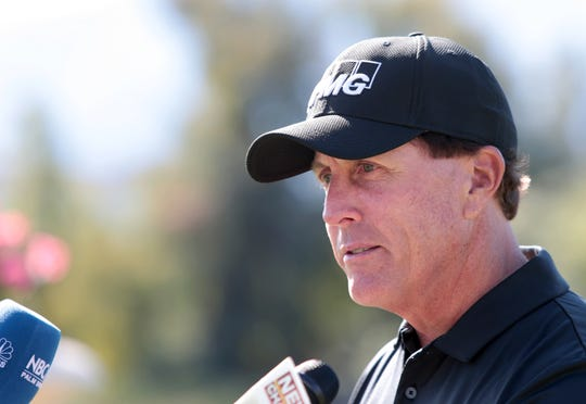 Phil Mickelson announces his expanding role in the American Express golf tournament, including a new position as host of the event during a press conference at The Madison Club in La Quinta, Calf., on November 23, 2019.