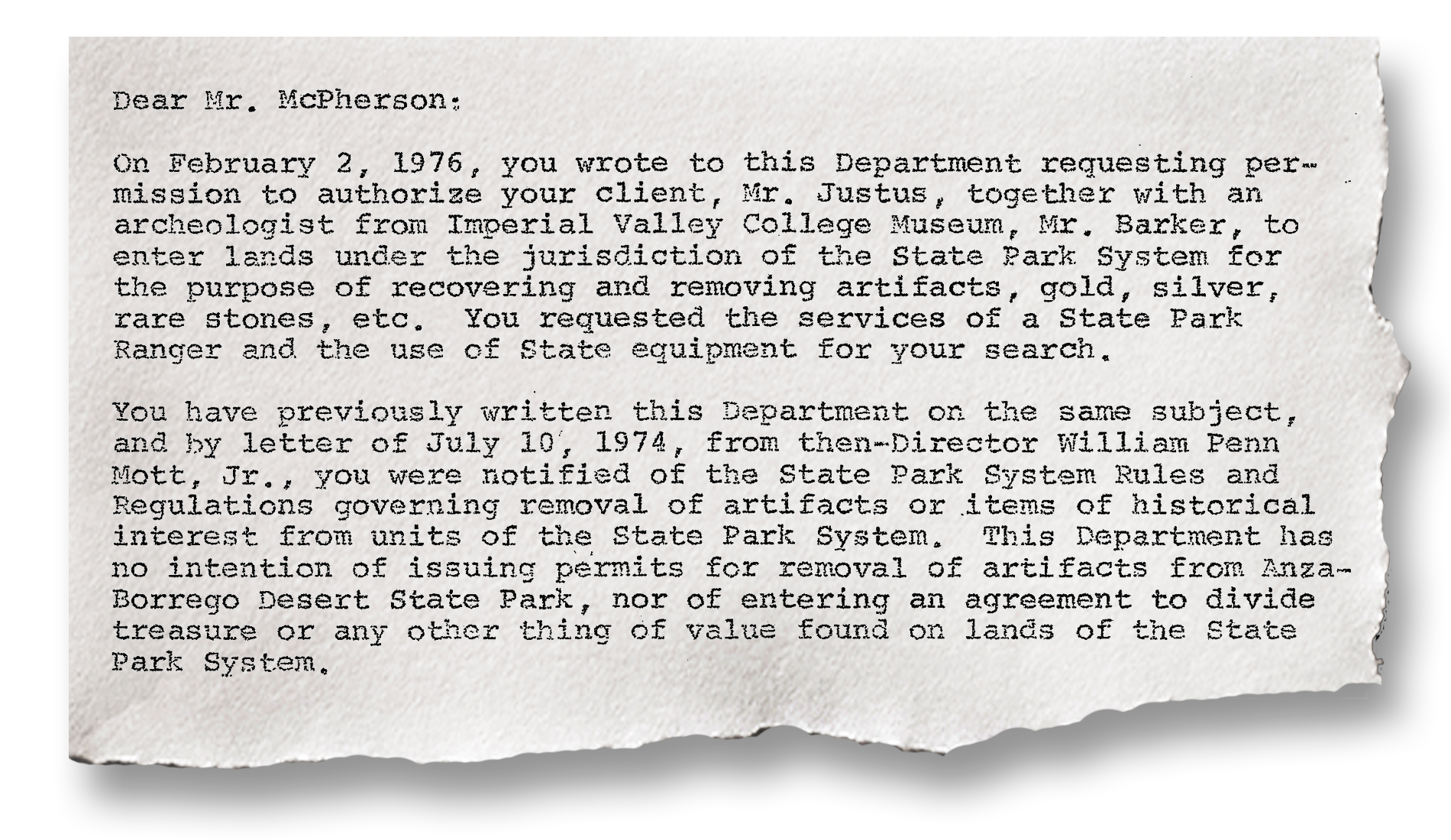 """In the early 1970s, lawyer Eugene McPherson sought an antiquities permit for his client Lawrence Justus, in order to locate """"certain artifacts"""" in Anza-Borrego Desert State Park in Southern California."""