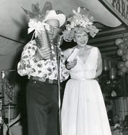 Tex Kidwell and Hildy Crawford announcing at the El Mirador Hat Parade.