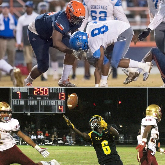 Escambia's KD Teamer (top) and Catholic's Damarius McGhee (bottom, 6) are among the nominees for PNJ Athlete f the Week