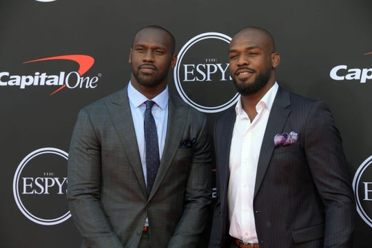 Cardinals linebacker Chandler Jones and his brother, UFC fighter Jon Jones, arrive on the red carpet at Microsoft Theatre on July 10 for The ESPY Awards.