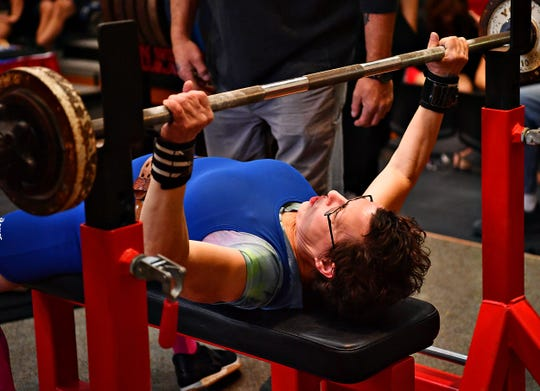 Donna Opuszynski, of Harrisburg, competes in the National Powerlifting Championships held at York Barbell in Manchester Township, Saturday, Nov. 23, 2019. Dawn J. Sagert photo