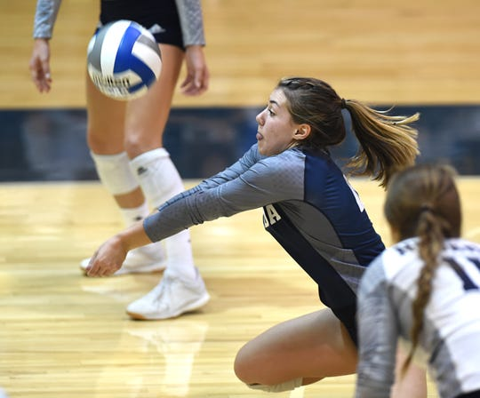 Nevada sophomore and McQueen graduate Kaila Spevak gets a dig against Wyoming at the Virginia Street Gym on Thursday.