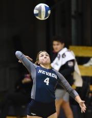 Nevada's Kaila Spevak serves against Wyoming at the Virginia Street Gym onThursday.