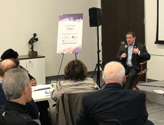 Rep. Joseph Morelle, D-Irondequoit, speaks with Rochester area residents about immigration issues at the Citizen Panel Forum Saturday, hosted by Common Ground Solutions, Voice of the People and the Democrat and Chronicle.