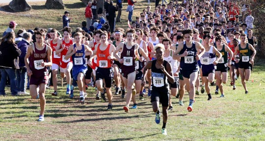 Sam Lawler (409) from Pittsford Mendon High School at the start of the race in the boys New York State Federation Cross-Country Championships at Bowdoin Park in Wappingers Falls, Nov. 23, 2019.