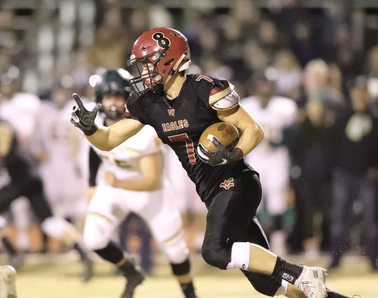 West Valley's Brandon Maroste carries the ball against Paradise in their semifinal playoff game on Friday, Nov. 22, 2019. Paradise won 28-13.
