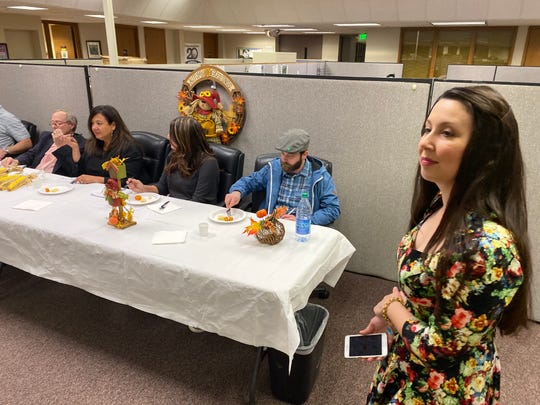 Record Searchlight reporter Alayna Shulman, right, stands by as judges sample the final dish from the paper's first-ever North State Cooks contest in this Friday, Nov. 22, 2019 picture.
