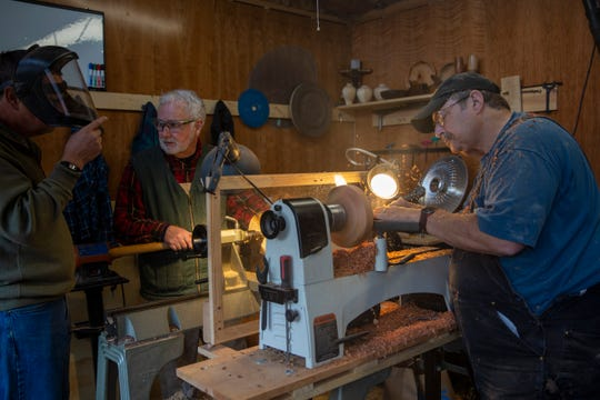 on Oct. 20 in Turner, Ore. The Willamette Valley Woodturners, a local nonprofit club of woodturning enthusiasts, are making bowls for an Empty Bowls fundraiser next year for hunger relief.