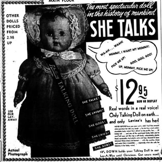 Levine's in San Angelo offered several dolls for sale in December of 1949.