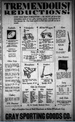 Gray Sporting Goods Co. in San Angelo offered several wheeled toys and footballs for Christmas 1929.
