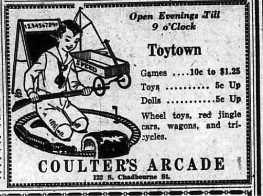 Coulter's Arcade at 122 S. Chadbourne St. in San Angelo offered an affordable assortment of toys in 1929.