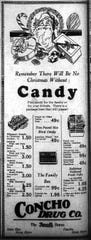 Candy has always been a favorite during the holidays, and Concho Drug Co. had a nice selection of sweet gifts on offer in 1929.
