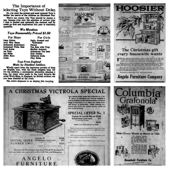 Several big-ticket items were advertised for mom and dad in 1919, but children's toys were mostly limited to the earliest toy cars and soldiers for boys and dolls and teas sets for girls.