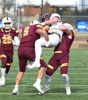 Salisbury University's Pat Bernardo makes a tackle on Saturday, Nov. 23, 2019.