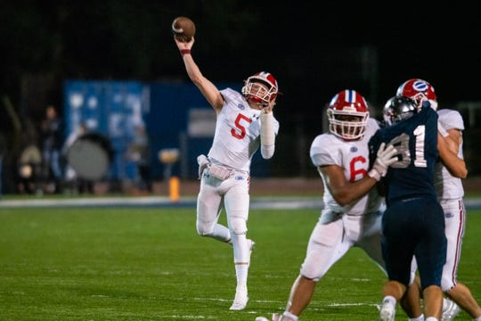 Evangel quarterback Blake Shapen passed for 264 yards in Friday's quarterfinal loss to St. Thomas More.