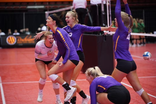 Watertown celebrates a point against Washington during Friday's Class AA semifinal.
