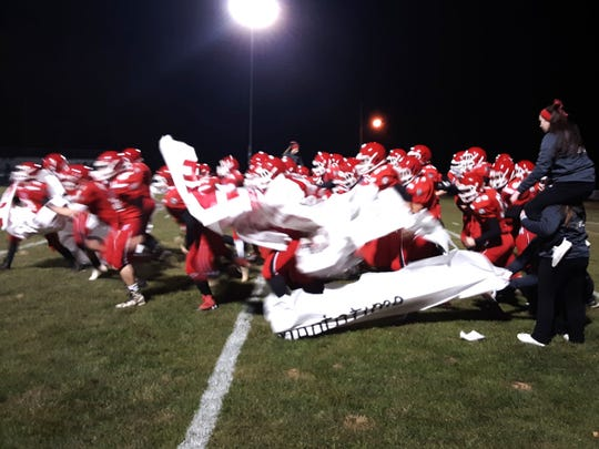 Riverheads takes the field before Friday's game with Franklin.