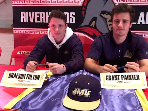 Braeson Fulton and Grant Painter, both Riverheads seniors, were honored at a ceremony at the high school Friday for signing to play baseball at James Madison University.