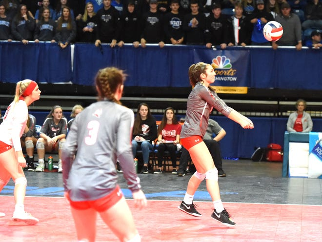 Riverheads' Kendyl Argenbright with a pass Saturday in the Class 1 state volleyball championship at Salem Civic Center.