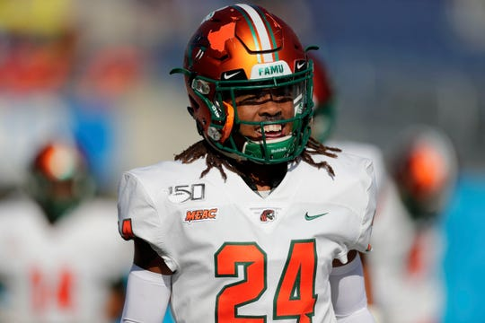 FAMU defensive back Cortez Reid is all Rattlers take the field for the Florida Blue Florida Classic at Camping World Stadium in Orlando.