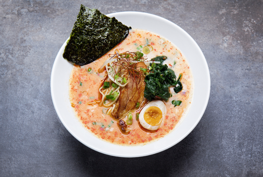 At Silverlake Ramen, a dish called The Blaze is made with spicy creamy pork broth, bean sprouts, egg, spinach, seaweed and diner's choice of pork, chicken or tofu.