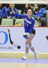 Haldane's Olivia Monteleone (11) serving during the opening round of the NYSPHSAA Girls Volleyball Championships at Cool Insuring Arena in Glens Falls on Saturday, November 23, 2019.