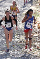 Mady Moroney from Pearl River High School races toward the finish line, in the girls New York State Federation Cross-Country Championships at Bowdoin Park in Wappingers Falls, Nov. 23, 2019.