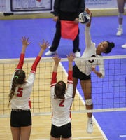 Ossining competes in the opening round of the NYSPHSAA Girls Volleyball Championships at Cool Insuring Arena in Glens Falls on Saturday, November 23, 2019.