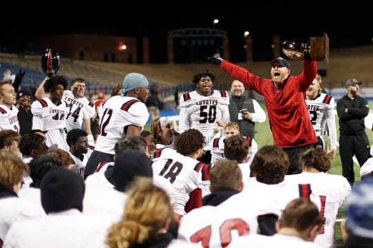 Wichita Falls High head football coach Grant Freeman celebrates with his team after a win against El Paso Parkland in the Region I-5A Division II area-round playoff game November 22, 2019 at Grande Communications Stadium in Midland.Photo credit : James Durbin