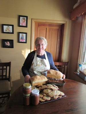 Susan's homemade goodies include fresh baked break and cookies and her special cranberry sauce.