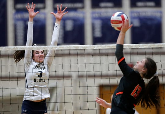 Appleton North's Brianna Cantrell, left, was named to the Wisconsin Volleyball Coaches Association's all-state first team.