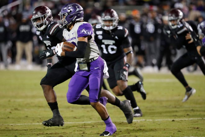 Abilene Christian wide receiver Kobe Clark (88) is pursued by Mississippi State defenders as he runs up the field for a short gain during the first half Saturday, Nov. 23, 2019, in Starkville, Miss.