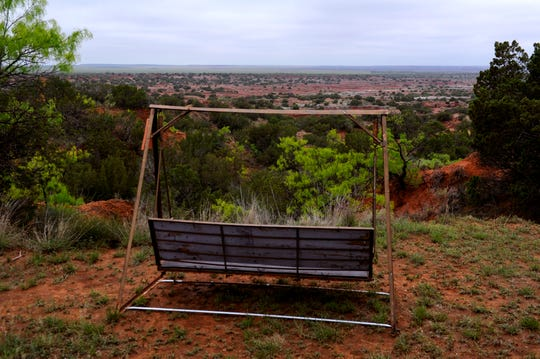 A swing bench overlooks the Wichita River Valley outside of Benjamin off S.H. 6 in northern Knox County Thursday in April 2015. The Jim Bob Art Park & Nature Trails is a privately-maintained park on the west side of the highway before it drops into the valley.
