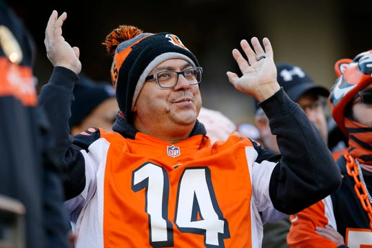 A frustrated Bengals fan waves his hands after Cincinnati Bengals wide receiver Tyler Boyd (83) fumbles the ball in the red zone in the fourth quarter of the NFL Week 12 game between the Cincinnati Bengals and the Pittsburgh Steelers at Paul Brown Stadium in downtown Cincinnati on Sunday, Nov. 24, 2019. The Steelers dealt the Bengals loss No. 11, 16-10, at home.
