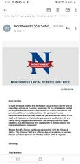 Northwest Local School District is canceling schoolTuesday to focus on safety procedures among teachers and staff, according to an email sent to parents Friday.