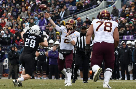Minnesota Golden Gophers quarterback Tanner Morgan (2) passes against the Northwestern Wildcats during the first half at Ryan Field on Nov. 23.