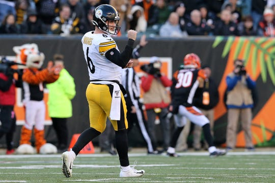 Pittsburgh Steelers quarterback Devlin Hodges (6) pumps his fist after a long gain in the fourth quarter of an NFL Week 12 game against the Cincinnati Bengals, Sunday, Nov. 24, 2019, at Paul Brown Stadium in Cincinnati. The Pittsburgh Steelers won 16-10, and the Cincinnati Bengals fell to 0-11 on the season.
