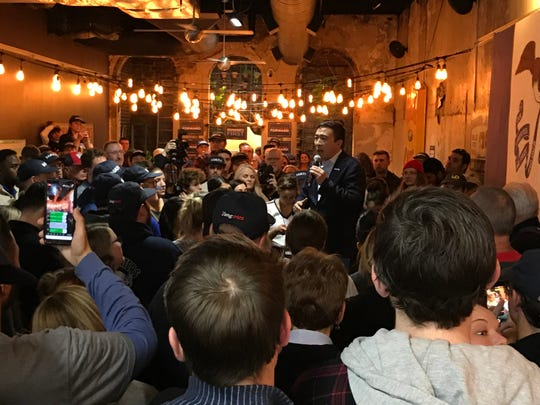 Democratic candidate Andrew Yang speaks to supporters at his rally in Lincoln's Pub in Council Bluffs on Saturday, Nov. 23, 2019.