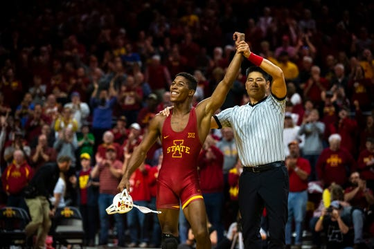 Iowa State's David Carr wins his match against Iowa's Kaleb Young at 157 during the Cy-Hawk dual on Sunday, Nov. 17, 2019, in Hilton Coliseum.