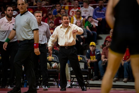 Iowa Head Coach Tom Brands calls out to one of his wrestlers during the Cy-Hawk dual on Sunday, Nov. 17, 2019, in Hilton Coliseum.