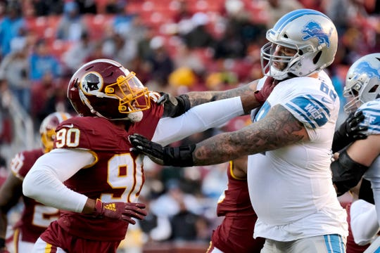 Washington linebacker Montez Sweat is blocked by Lions offensive tackle Taylor Decker during the second half on Sunday, Nov. 24, 2019, in Landover, Md.