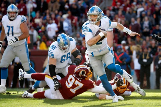 Lions quarterback Jeff Driskel scrambles against the Washington during the first half on Sunday, Nov. 24, 2019, in Landover, Md.