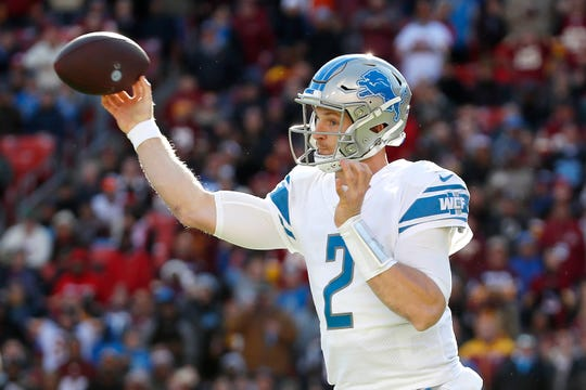 Lions quarterback Jeff Driskel throws a pass against Washington during the first half Nov. 24, 2019, in Landover, Md.